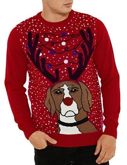 LED Weihnachtspullover - Motiv Hund mit Geweih und Lichterkette