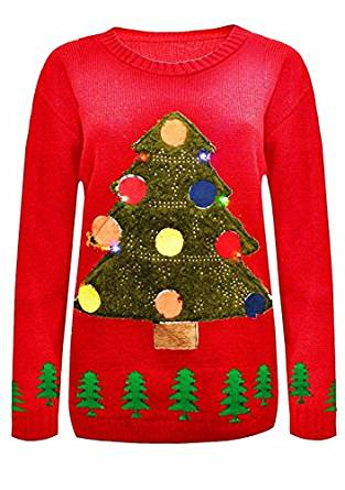 LED Weihnachtspullover Tannenbaum Motiv