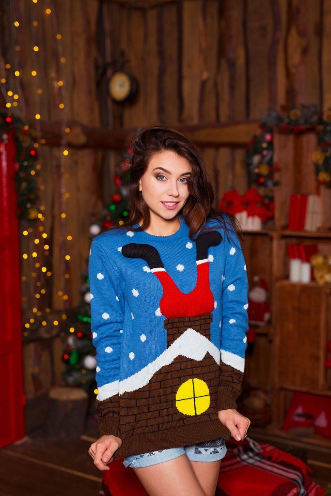 Lustiger Weihnachtspullover mit weihnachtlichem Motiv